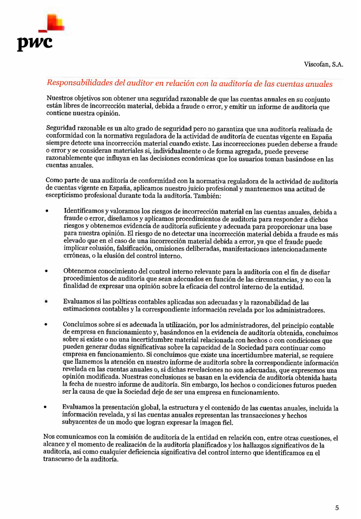 Informe De Auditoría Viscofan S A